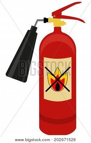 Fire extinguisher isolated on white background. Flat vector illustration
