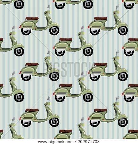 Striped seamless hipster pattern with retro motorcycle. Modern fashionable background with vintage scooter. Cartoon hand draw style