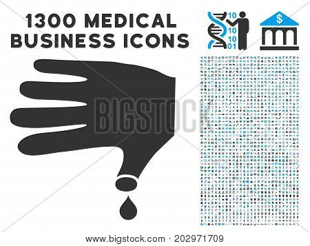 Hand Wound grey vector icon with 1300 medicine business pictographs. Set style is flat bicolor light blue and gray pictograms.