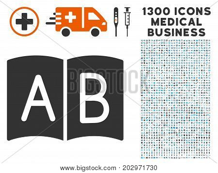 Handbook grey vector icon with 1300 doctor commerce pictograms. Set style is flat bicolor light blue and gray pictograms.
