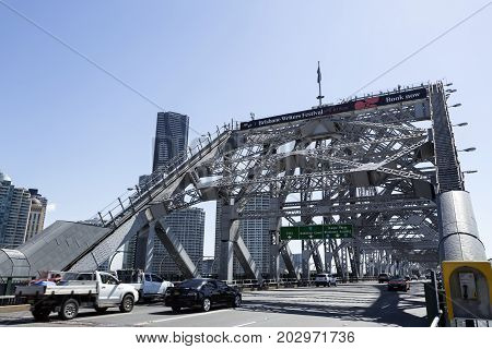 BRISBANE, AUSTRALIA - August 29, 2017: View of the south side of the Story Bridge a steel truss cantilever bridge in Brisbane Australia