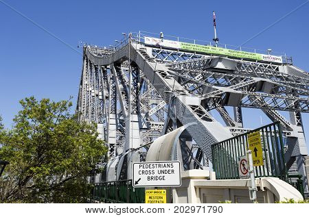 BRISBANE, AUSTRALIA - August 29, 2017: View of the north end of the Story Bridge a steel truss cantilever bridge in Brisbane Australia