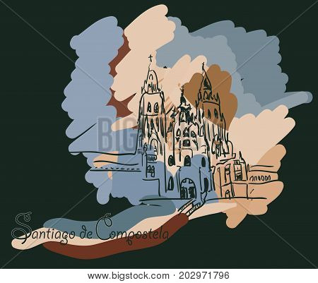 Santiago de Compostela in a black background