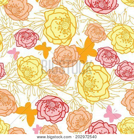 Vector pink, yellow, orange leaves and flowers summer seamless pattern with pastel plants and leaves on white background. Great for vacation themed fabric, wallpaper, packaging. Surface pattern