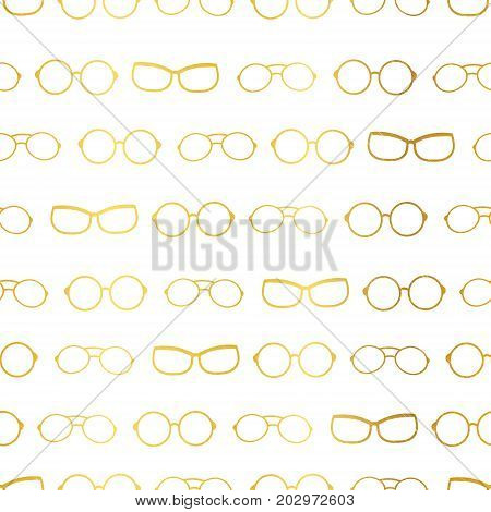 Vector white and gold glasses accessories horizontal borders, stripes seamless pattern. Great for eyewear themed fabric, wallpaper, packaging. Surface pattern design.