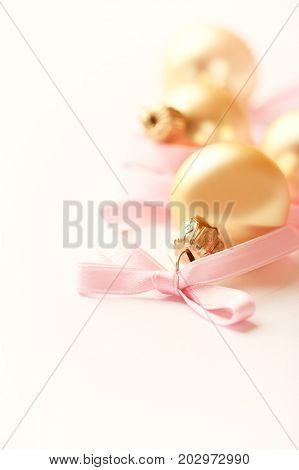 Christmas balls with satin ribbon