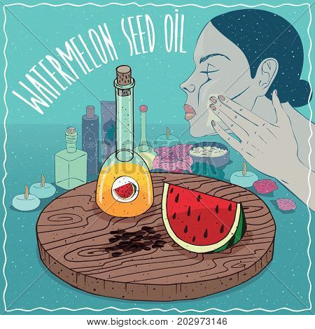 Glass Decanter of Watermelon seed oil and fruit and seeds of Citrullus lanatus plant. Girl applying facial mask on face. Natural vegetable oil used for skin care