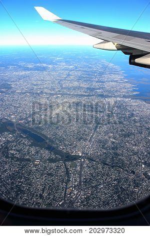 Aerial View of American Metropolitan Suburban Sprawl taken from an airplane window.