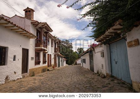 July 13 2017 Villa de Leyva Colombia: the high altitude town is known for its unchanged colonial style architecture