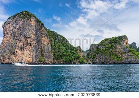 Rocks of Loh Samah Bay at Phi Phi Leh island, Thailand.