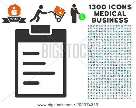 Inventory Pad gray vector icon with 1300 health care business icons. Collection style is flat bicolor light blue and gray pictograms.