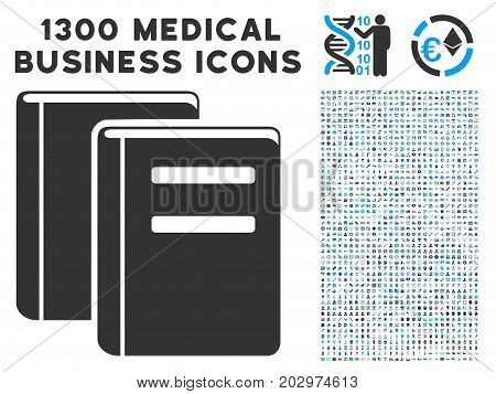 Library Books gray vector icon with 1300 medical business icons. Clipart style is flat bicolor light blue and gray pictograms.