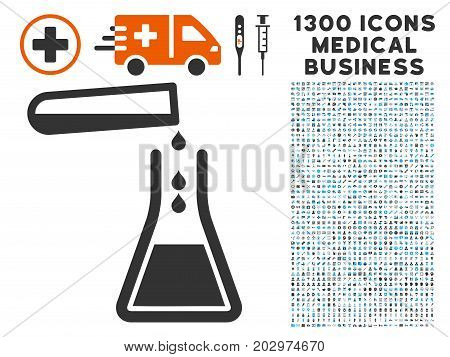 Liquid Transfusion gray vector icon with 1300 clinic commercial pictographs. Clipart style is flat bicolor light blue and gray pictograms.