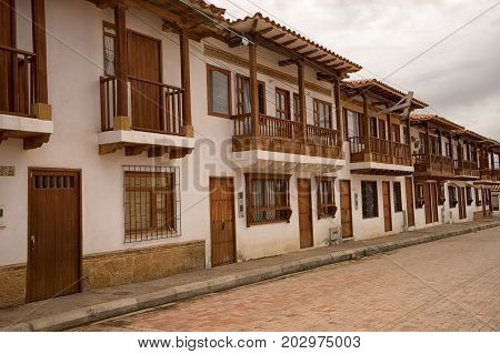 July 13 2017 Villa de Leyva Colombia: the newly built houses in the town has to match the colonial style of the town imposed by architectural control