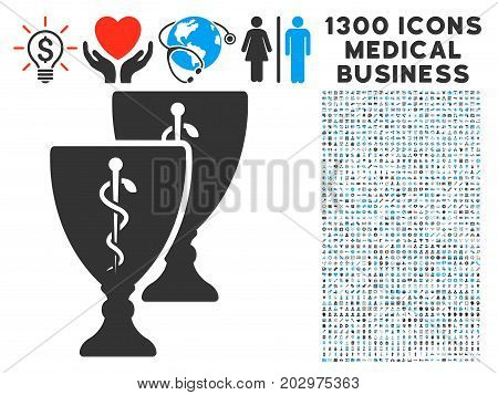 Medical Award Cups grey vector icon with 1300 medicine business pictograms. Clipart style is flat bicolor light blue and gray pictograms.