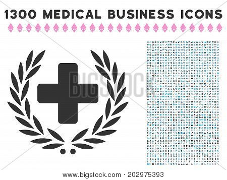 Medical Award Wreath grey vector icon with 1300 healthcare business symbols. Clipart style is flat bicolor light blue and gray pictograms.