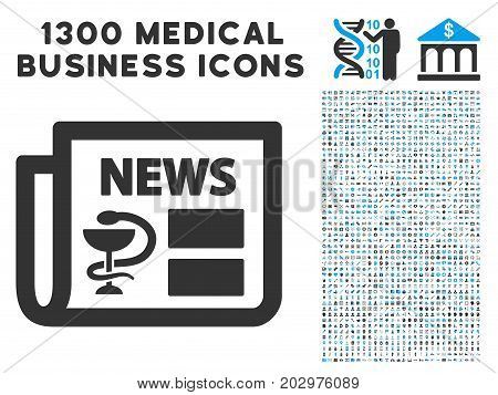 Medical Newspaper grey vector icon with 1300 healthcare commercial symbols. Collection style is flat bicolor light blue and gray pictograms.