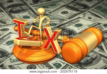 Tax Law Concept With The Original 3D Character Illustration Kicking Tax