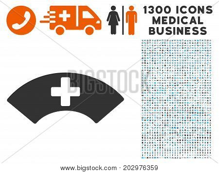 Medical Visor gray vector icon with 1300 health care commerce pictographs. Clipart style is flat bicolor light blue and gray pictograms.