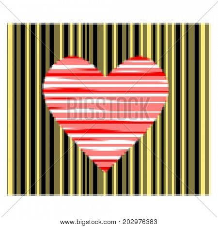 Red heart in bar code