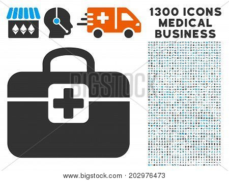 Medkit grey vector icon with 1300 doctor commercial icons. Collection style is flat bicolor light blue and gray pictograms.
