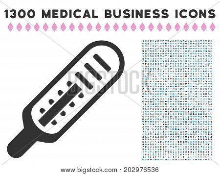 Mercury Thermometer grey vector icon with 1300 healthcare business symbols. Collection style is flat bicolor light blue and gray pictograms.
