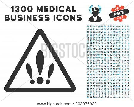 Multiple Problems gray vector icon with 1300 medical commercial pictograms. Set style is flat bicolor light blue and gray pictograms.