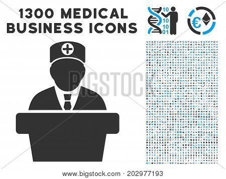 Official Doctor Tribune gray vector icon with 1300 medical commercial pictographs. Collection style is flat bicolor light blue and gray pictograms.