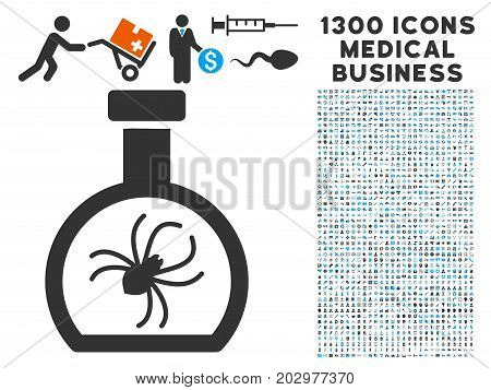 Parasite Container Retort grey vector icon with 1300 clinic commerce symbols. Clipart style is flat bicolor light blue and gray pictograms.