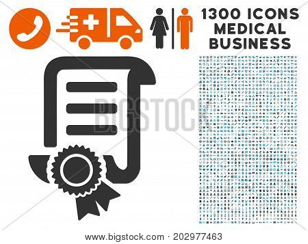 Patent grey vector icon with 1300 healthcare commercial symbols. Clipart style is flat bicolor light blue and gray pictograms.