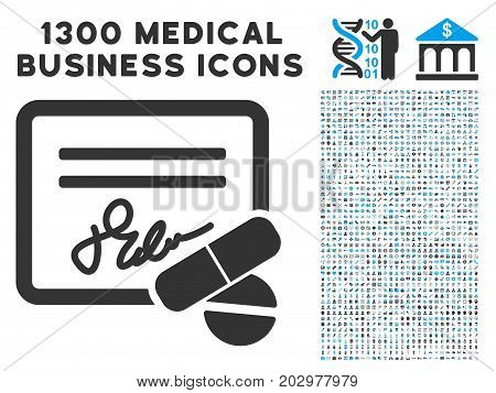 Prescription grey vector icon with 1300 doctor commercial pictographs. Collection style is flat bicolor light blue and gray pictograms.