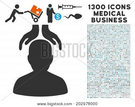 Psychiatry Hands gray vector icon with 1300 healthcare commerce icons. Set style is flat bicolor light blue and gray pictograms.