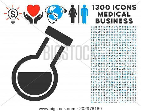 Retort grey vector icon with 1300 doctor business pictograms. Clipart style is flat bicolor light blue and gray pictograms.