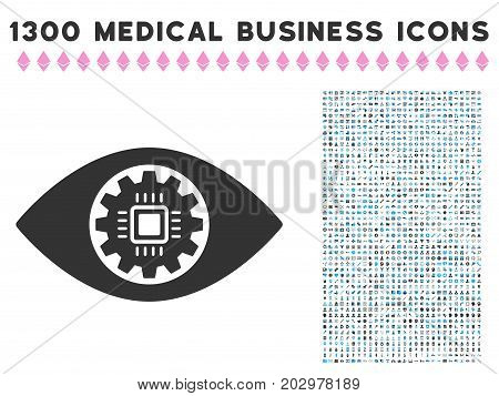 Robotics Eye Lens grey vector icon with 1300 medicine commercial pictograms. Set style is flat bicolor light blue and gray pictograms.
