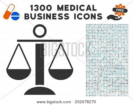 Scales Balance grey vector icon with 1300 medical commerce pictographs. Set style is flat bicolor light blue and gray pictograms.