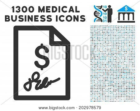 Signed Bill gray vector icon with 1300 clinic commerce pictograms. Clipart style is flat bicolor light blue and gray pictograms.