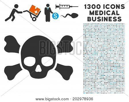 Skull Crossbones gray vector icon with 1300 medicine commercial pictograms. Collection style is flat bicolor light blue and gray pictograms.