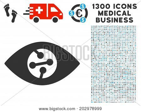Smart Contact Lens grey vector icon with 1300 clinic commerce pictograms. Set style is flat bicolor light blue and gray pictograms.