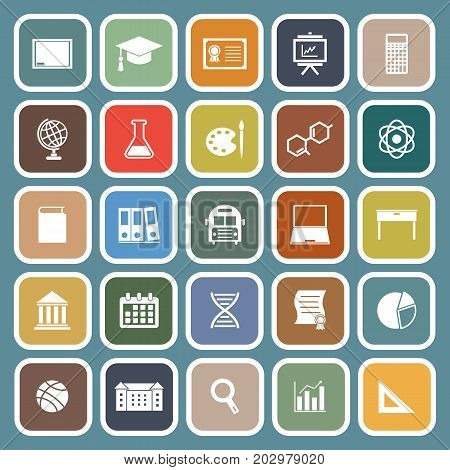 Education flat icon on blue background, stock vector
