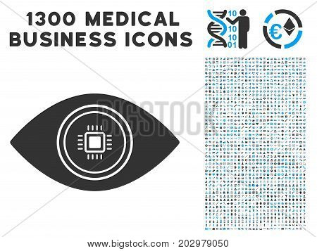 Smart Vision Eye grey vector icon with 1300 healthcare commerce icons. Set style is flat bicolor light blue and gray pictograms.