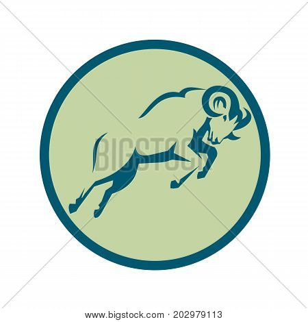 Icon style illustration of s Mountain Sheep Jumping viewed from side set inside Circle on isolated background.