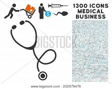 Stethoscope grey vector icon with 1300 clinic commerce pictographs. Clipart style is flat bicolor light blue and gray pictograms.
