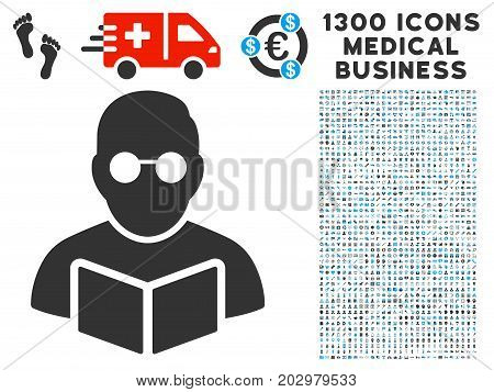 Student Read Book grey vector icon with 1300 clinic business icons. Set style is flat bicolor light blue and gray pictograms.