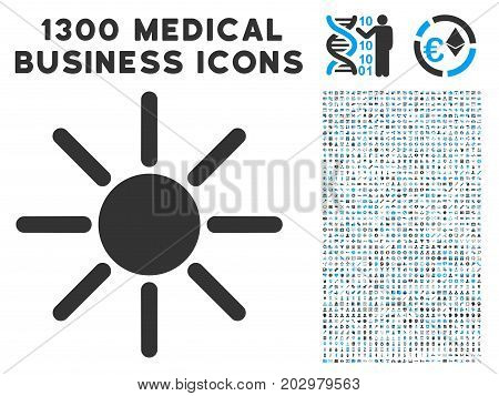Sun grey vector icon with 1300 medical business pictograms. Clipart style is flat bicolor light blue and gray pictograms.