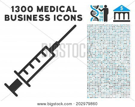 Syringe gray vector icon with 1300 clinic commerce pictograms. Collection style is flat bicolor light blue and gray pictograms.