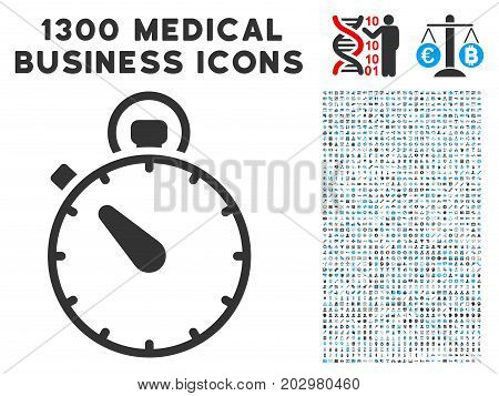 Timer gray vector icon with 1300 healthcare commerce pictograms. Clipart style is flat bicolor light blue and gray pictograms.