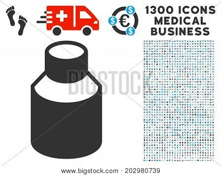 Vial gray vector icon with 1300 clinic commerce symbols. Clipart style is flat bicolor light blue and gray pictograms.