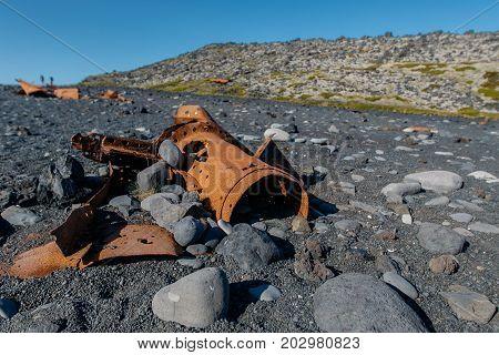 Shipwreck ruins at Djupalonssandur beach at Snaefellsjoekull National Park in Iceland.