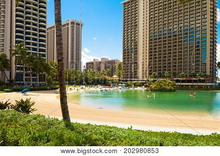 Oahu June 2012 :  waikiki beach in oahu and his luxurious resort  are  one of the most attractive tourist destinations in the world