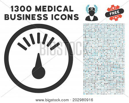 Weight Gauge gray vector icon with 1300 medical commerce pictograms. Clipart style is flat bicolor light blue and gray pictograms.